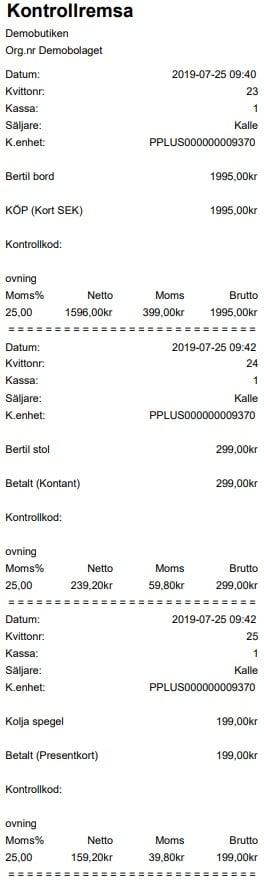 JobOffice Kassa - Kvitto kontrollremsa med 3 kvitton