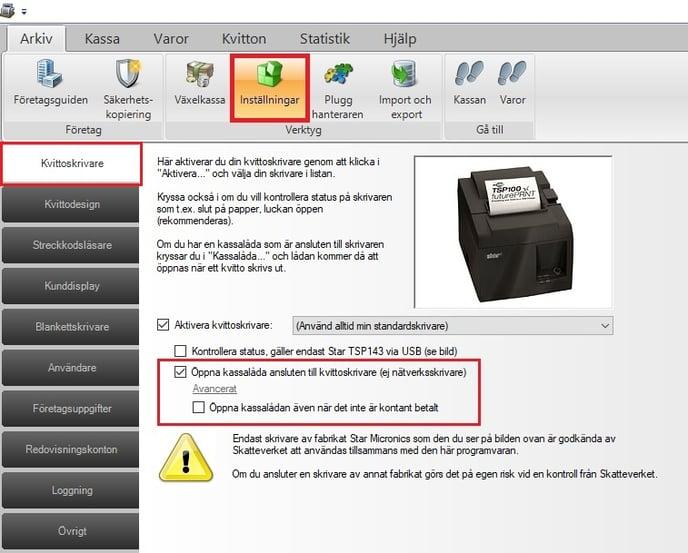 Inställnignar för att öppna kassalådan automatiskt i JobOffice Kassa