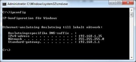 Använd ipconfig för att se IP-adress