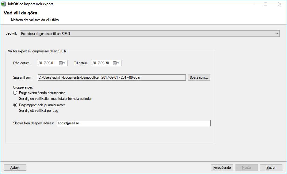 Bild på JobOffice Kassa export av SIE-fil