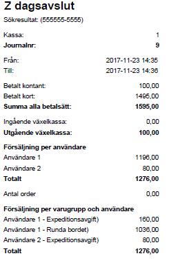 Bild på JobOffice Kassa Z dagsavslut med extra statistik