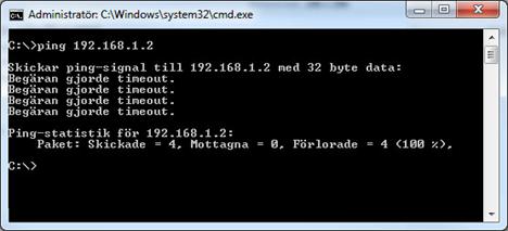 Använd ping för att hitta en ledig IP-adress