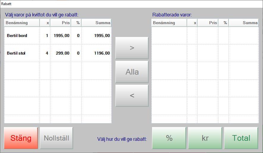 Rabatt-dialogen i JobOffice Kassa
