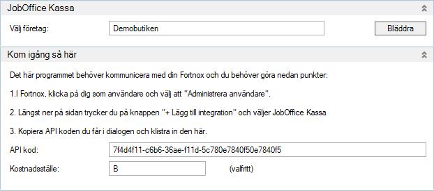 Integrera JobOffice Kassa med Fortnox med en API-kod