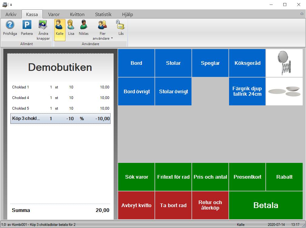 Kombinationsrabatt räknas ut automatiskt i JobOffice Kassa